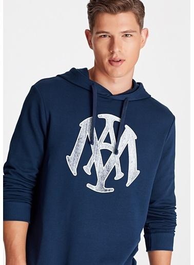 Mavi Mühür Baskılı Sweatshirt Mavi